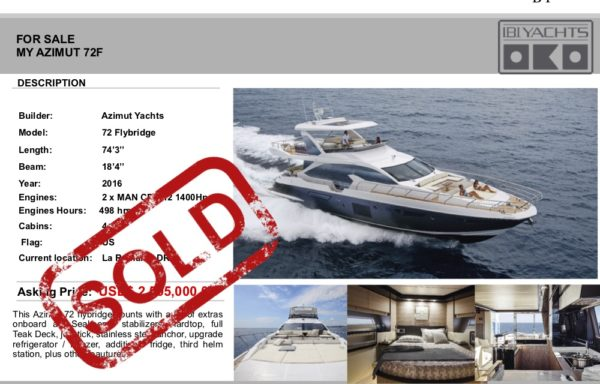 FOR SALE: AZIMUT 72F